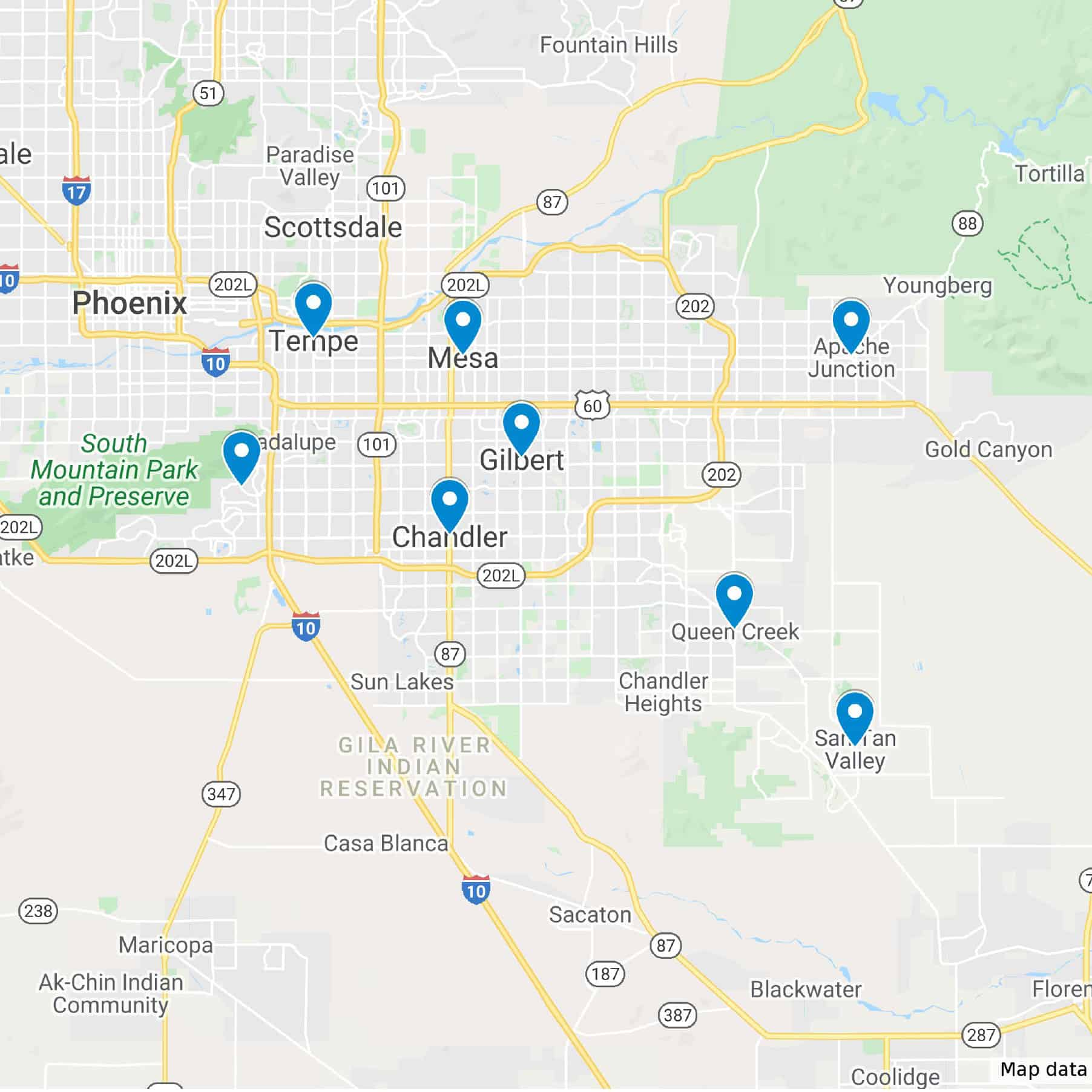 google map of arizona with pins for service areas